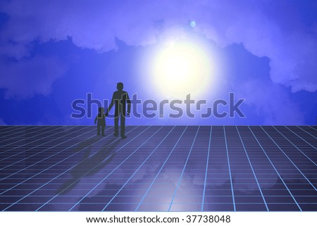 Silhouette of father and child walking in moonlight - stock photo