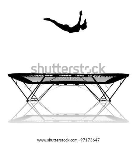 silhouette of female gymnast jumping in trampoline - stock photo