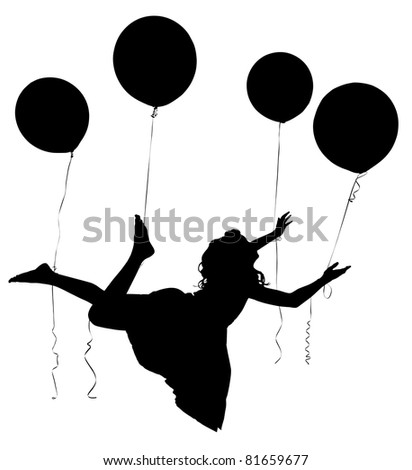 Silhouette of girl child in dress floating away on baloons with clipping path. - stock photo