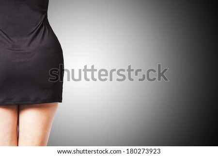 silhouette of girl with slim waist black skirt - stock photo