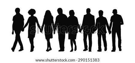 silhouette of group of people holding their hands and walking together in a row, front view - stock photo
