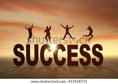 Silhouette of happy businesspeople jumping over a text of success at sunset time - stock photo