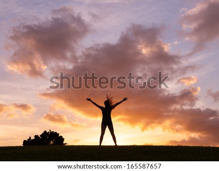 Silhouette of happy woman enjoying nature. Freedom concept. - stock photo