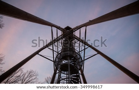 silhouette of highest viewing tower in Germany - stock photo