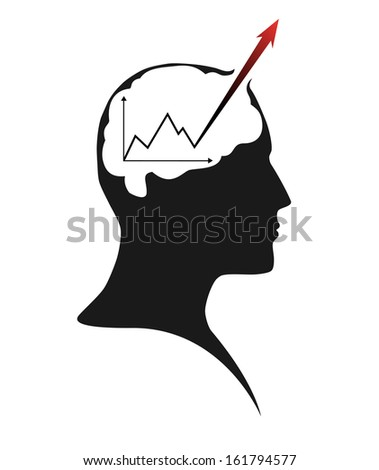 Silhouette of human head � brain activity - stock photo