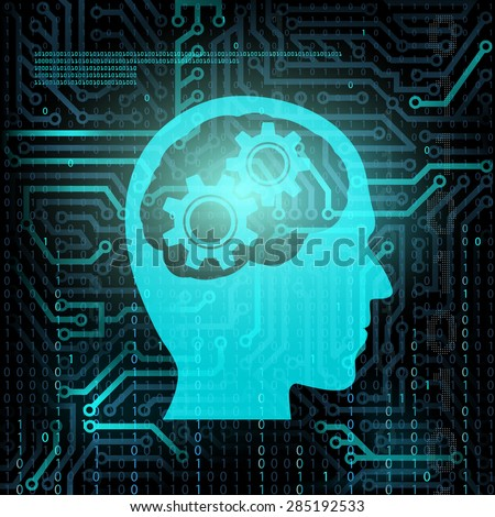 Silhouette of human head with gears. Chip and binary code. - stock photo