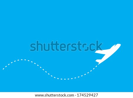 silhouette of jet airplane, isolated on blue - stock photo