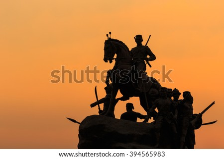 Silhouette of King Naresuan monument in Lampang Province, Thailand - stock photo