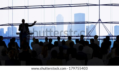 Silhouette of Large Business Presentation - stock photo