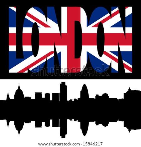 silhouette of London Skyline and London flag text illustration JPG - stock photo