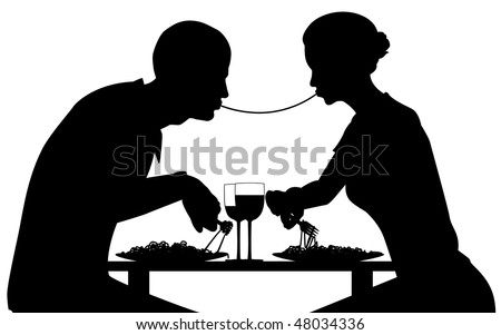 Silhouette of lovers eating spaghetti together - stock photo