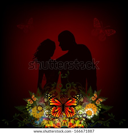 Silhouette of lovers with a floral abstraction. Raster - stock photo