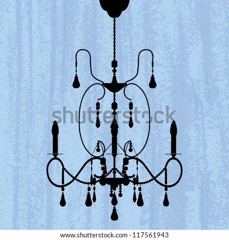 silhouette of luxury chandelier on a scratched blue wallpaper/ template design of invitation with chandelier - stock photo