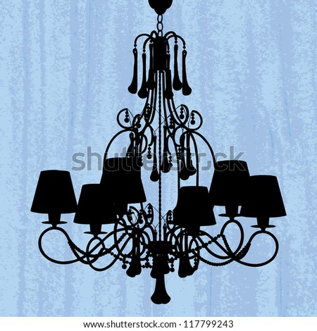 silhouette of luxury chandelier on a scratched green wallpaper/ template design of invitation with chandelier - stock photo