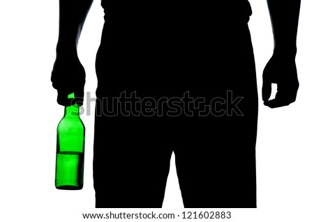Silhouette of man drinking alcohol isolated on white background - stock photo