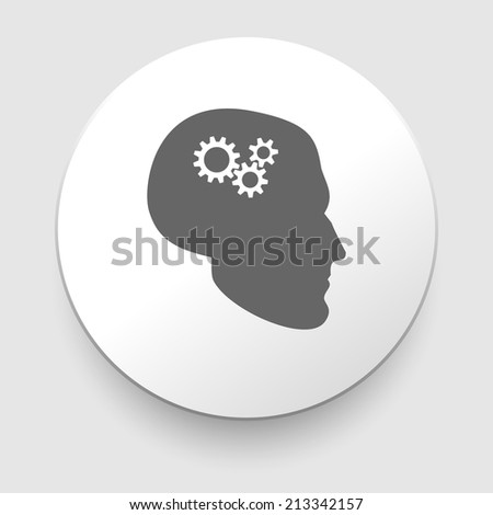Silhouette of man head with gears isolated on white background - stock photo