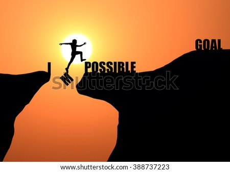 Silhouette of man jumping over cliff and impossible message on sunset background , business concept - stock photo