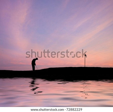 Silhouette of man playing golf on beautiful colorful sunset - stock photo
