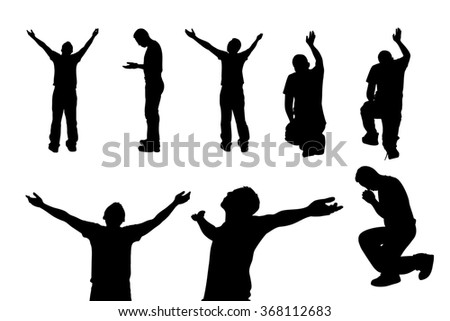 Silhouette of man praying and feel free with white background, concept for religion, worship, love and spirituality - stock photo