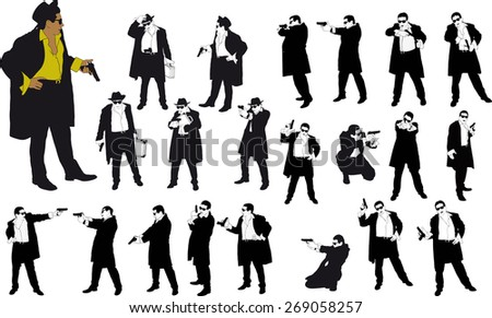 silhouette of man with gun and and hat - stock photo
