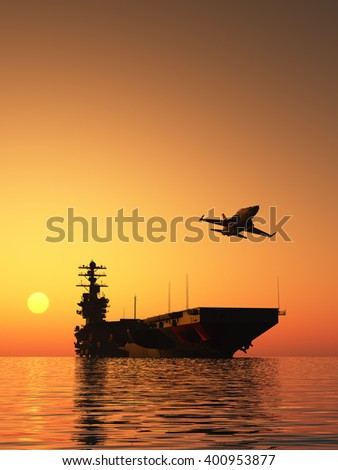 Silhouette of military aircraft and spacecraft., 3d render - stock photo