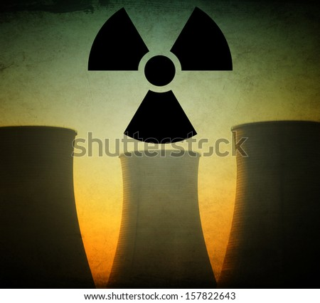 Silhouette of Nuclear Power Plant - stock photo