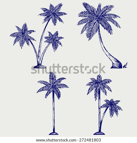 Silhouette of palm trees. Doodle style. Raster version - stock photo