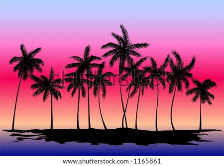 Silhouette of palm trees on the sunset - stock photo