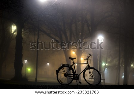 Silhouette of parked bicycle in park at foggy night in autumn - stock photo