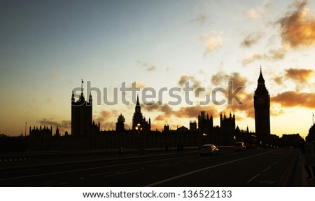 Silhouette of Parliament with Big Ben at sunset, London - stock photo