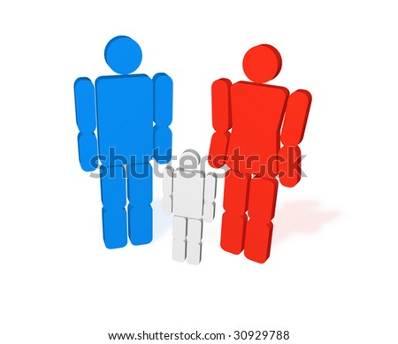 silhouette of people 3d - stock photo