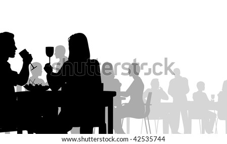 Silhouette of people eating in a restaurant - stock photo
