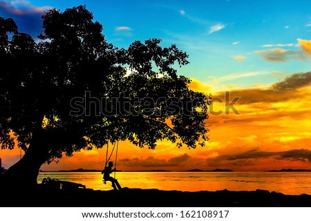 silhouette of person on swinging board with saturated background of sky and sea - stock photo