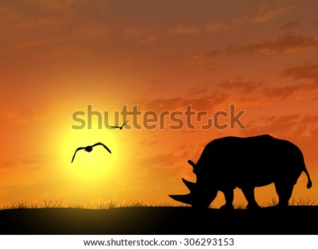 Silhouette of rhino on the background of the night sky with a bright sun - stock photo