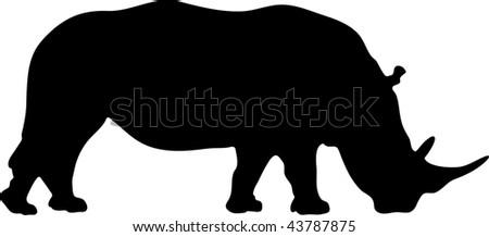 silhouette of rhinoceros - stock photo