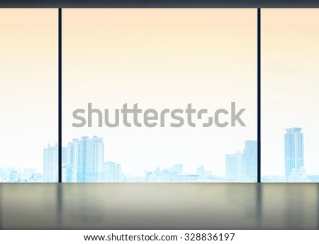 Silhouette of Room in office building see through to window at city view ,Modern business concept,Mock up for adding your content - stock photo