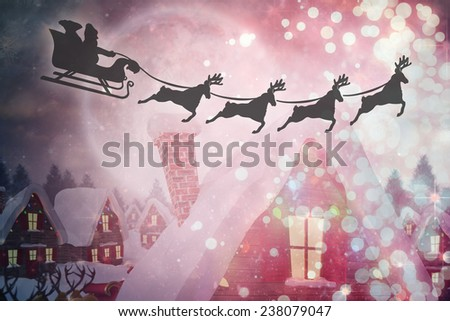 Silhouette of santa claus and reindeer against cute christmas village under full moon - stock photo
