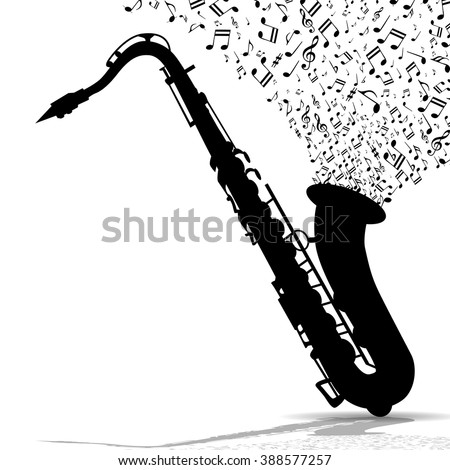 Silhouette of saxophone and music - stock photo