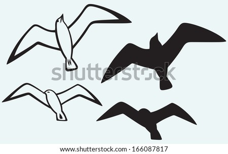 Silhouette of seagulls isolated on blue background. Raster version - stock photo
