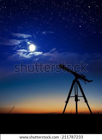 Silhouette of Telescope - stock photo