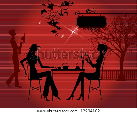 Silhouette of the couple in the cafe, raster version of vector illustration - stock photo