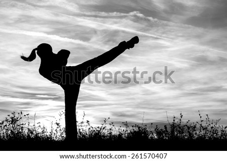 Silhouette of the kickboxing girl exercising outdoor at sunset. - stock photo