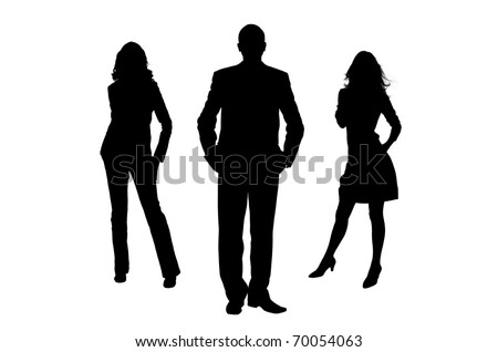 Silhouette of the man and women. The man the leader. It is isolated on a white background - stock photo