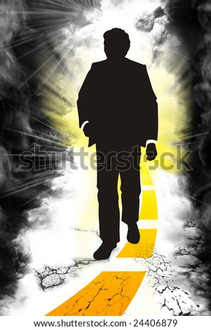 Silhouette of the mann - stock photo