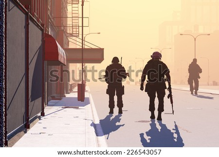 Silhouette of the soldier on the streets of a modern city. - stock photo