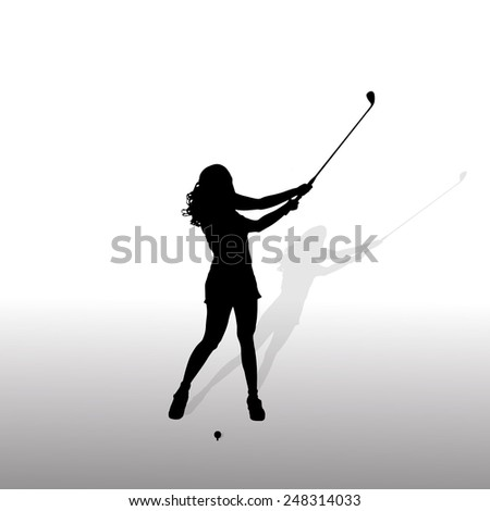 silhouette of the woman who plays golf. - stock photo