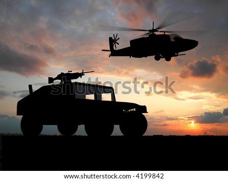 Silhouette of truck over sunset with helicopter - stock photo
