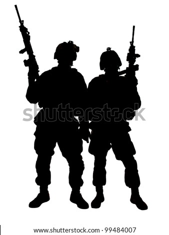 Silhouette of two US marines with rifles - stock photo