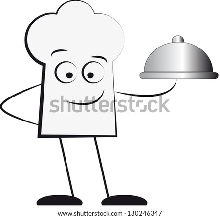Silhouette of waiter holding serving tray  - stock photo