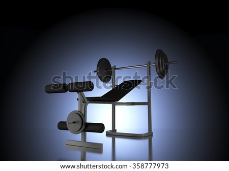Silhouette of Weight Bench with Barbell Backlit in Dark Studio by Central Cool Blue Light and Vignette Effect - stock photo